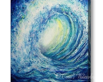Wave Canvas Print Gallery Wrap Edge- Multiple sizes to choose. Ready to Hang! Beach Art Surfing Blue Wave Barrel Ocean Seascape