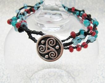 Blue, Teal, Red, and Black Macrame Wrap Bracelet, Light Blue, Teal, and Red Black Macrame Bracelet