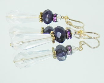 Faceted Crystal, Dark Amethyst and Gold Filled Earrings