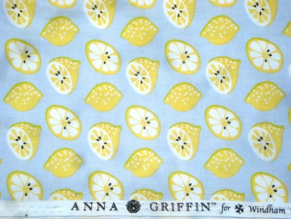 SALE : Elsie's Kitchen lemons gray Anna Griffin Windham fabrics FQ or more