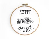 Little Bear SWEET DREAMS Hoop art // embroidery hoop, vintage graphic, wall decoration art by renna deluxe