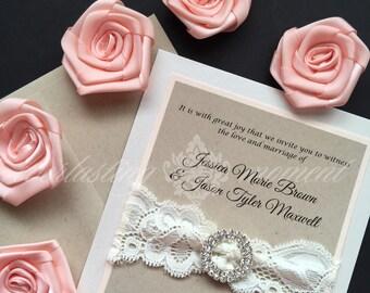 Rustic Rhinestone and Lace Wedding Invitation, Ivory Lace, Kraft, peach, shabby chic, country elegant, vintage