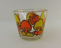 1970s Mushroom Butterfly Glass Ice Bucket - Orange Yellow - Retro Hippie
