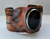 Black Onyx Stone Copper Cuff Bracelet, Mens Copper Cuff Bracelet, Womens Copper Cuff Bracelet, Statement Jewelry, Black Stone Jewelry