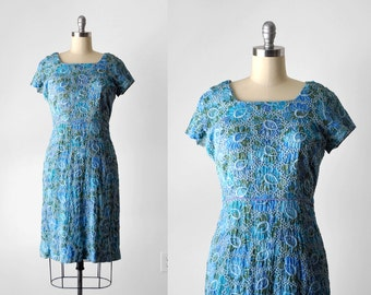 60 embroidered dress. watercolor. 1960's floral dress. blue & green. wiggle. 50 60 eyelet dress. large.