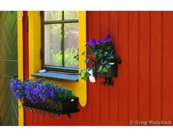 Fine Art Color Photography of a Window Box and Flowers in the Fishing Village of Vaxholm Sweden