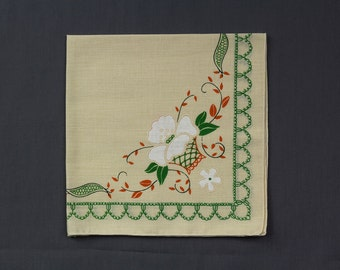 1950s Set of 6 Off white Napkins with printed crewel design in green, oranges, White, Floral motif Excellent vintage condition