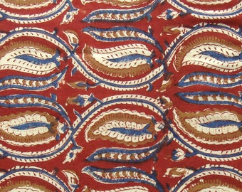hand printed cotton fabric - blue red and brown - 1 yard - ctjp139