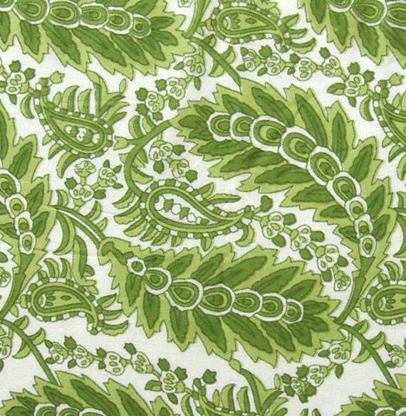 india fabric green leaf print fabric 1 yard ctjp182