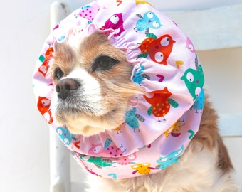 Pink Owls Dog Snood - Stay-Put 3 Rows Elastic Thread - Long Ear Coverup - Cavalier King Charles or Cocker Snood