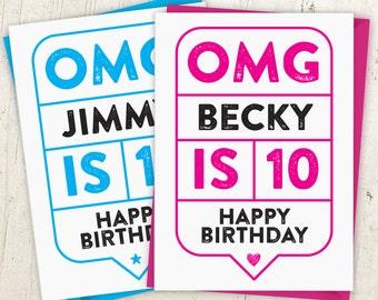 OMG 10th Birthday Speech Bubble Card