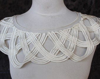 Cute  embroidered   applique ivory color