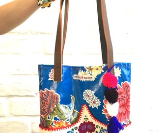 SALE Oilcloth Embroidered Handbag Jalisco Tote Blue