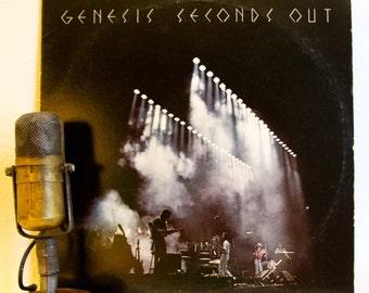 """ON SALE Genesis Vinyl Record Album 1970s Progressive Rock Phil Collins  """"Seconds Out:(LIVE 2Lp)"""" (1977 Atlantic w/""""The Carpet Crawl"""")"""