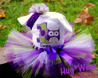 Custom Personalized Owl Birthday Shirt + Tutu Outfit (any age) Purples  lime green