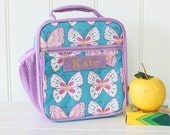 Lunch Bag With Monogram Classic Style Pottery Barn -- Aqua/Lavender Butterfly