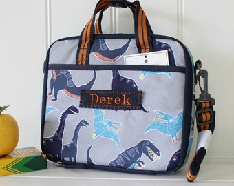 Personalized Lunch Bag -- Pottery Barn All-In-One -- Gray Dino