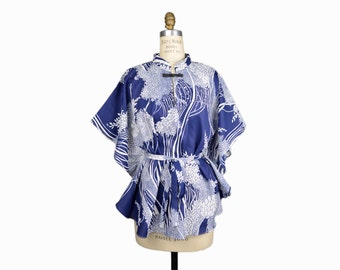 Vintage 60s Hawaiian Kaftan Tunic in Wispy Tree Print - women's small/medium