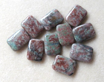 Kashgar Garnet, Gemstone Pendants, Semi Precious, Red Green Garnet, Rectangle Pendants, Craft Supplies, Jewelry Supply, Jewelry Making Beads