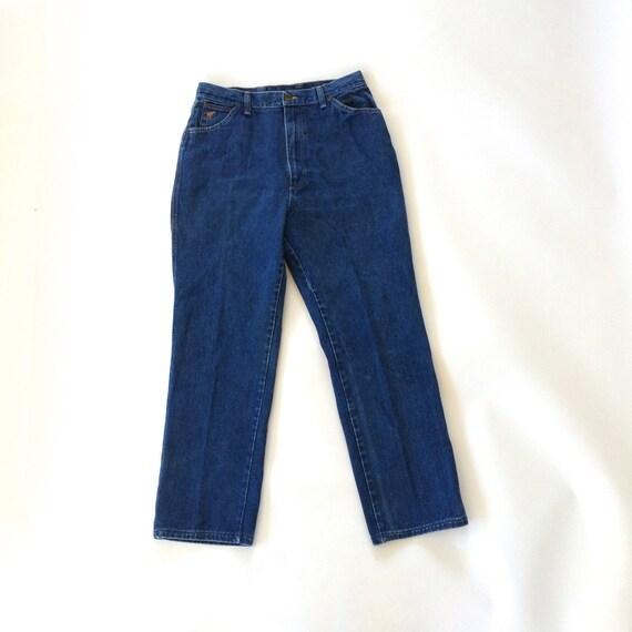dark wash wrangler jeans high waist straight leg 80s vintage. Black Bedroom Furniture Sets. Home Design Ideas