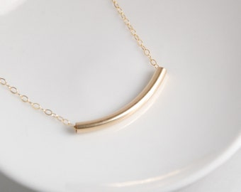 14K gold filled necklace, gold tube necklace, minimalist, everyday necklace, dainty jewelry, entirely with 14K gold filled metal