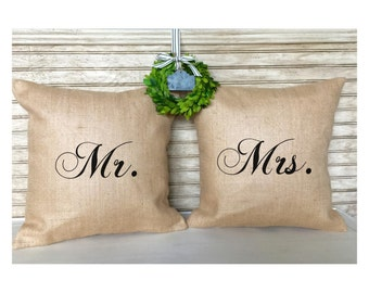 Farmhouse Wedding | Rustic Wedding Decor | Burlap Pillows | Mr. & Mrs. Pillow Set | Bridal Shower Gifts | Inserts Included
