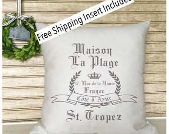 French Vintage Crown | French Rustic Decor | Throw Pillow | French Country | Insert Included | French Provincial | * FREE SHIPPING *