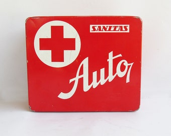 Vintage Czechoslovakian Army First Aid Kit Full of Supplies
