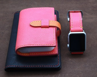 Apple Watch {42mm} Leather Band in Caviar Pattern Embossed calf CORAL RED