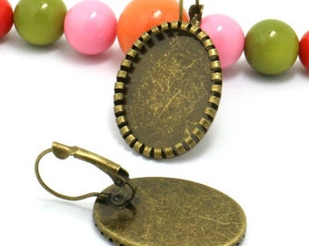 40 Oval Earrings- Brass Antique Bronzed Lever Back Ear Wire W/ 18x25mm Oval Bezel Setting