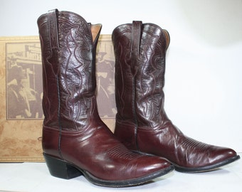 Vintage Maroon burgundy low heel cowboy mid calf Leather fashion boots western lucchese mens 11 D