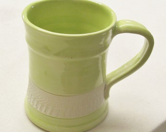 Handmade Mug  Ceramic Pottery Coffee Cup Tea Cup Lime Greem and White Stoneware Chattered Pottery