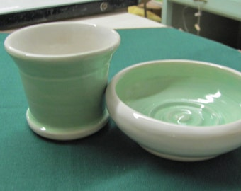 Tumbler and Soap Dish Set Handmace Ceramic Pottery Mint Turquoise and White Bath Set
