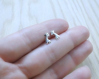 Delicate silver studs, Giraffe earrings, small silver post earrings, tiny studs,  Animal Jewelry, safari Jewelry, nature studs, for girl