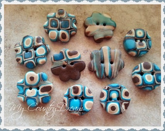 "Handmade Buttons ""Square"" set of 10 pcs."