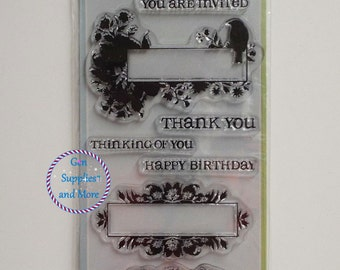 Inkadinkado Clear Stamps, Thank You Stamps, Happy Birthday Stamps, Thinking of You Stamps - 7pcs