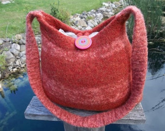 11-1027 handknit felted wool purse tote handbag f.s.