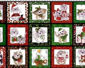 NEW Loralie Designs Kitty Kitty Christmas Panel fabric - 1 yard