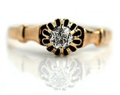 Antique Engagement Ring  Old Mine Cut Victorian Ring 14K Rose Gold Antique Wedding Ring Vintage Promise Ring Size 8!