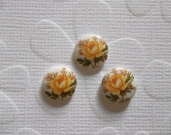 Vintage Decal Picture Stones - Yellow Rose on White Cameo -  10mm Round Glass Cabochons - Qty 6