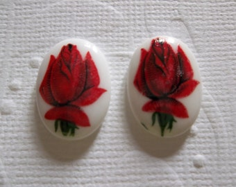 Vintage Decal Picture Stones - Red Rose Glass Cabochons - 18 X 13mm - Made in Germany - Qty 6