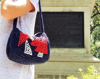 60s beaded nautical bag / navy bag / vintage handbag