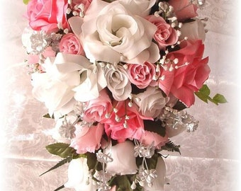 21pc Silk Wedding Flowers Bridal Rose Bouque PINK White Silver
