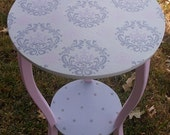 Kids and Baby Nursery Tables Desks Custom Round Nightstand NURSEY Table Side Table PINK GRAY Damask