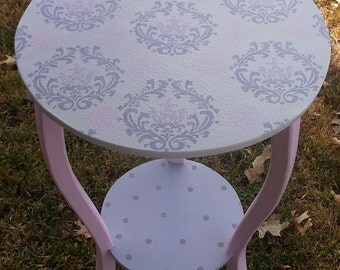Tables, Desks,Childrens tables,Nursery Tables, Custom Round Nightstand, Side Table, End table, Pink Gray, Damask