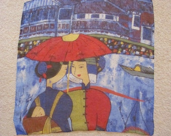 """Lovely Colorful  Sheer Silk Scarf - 20"""" Inch 50cm Square"""