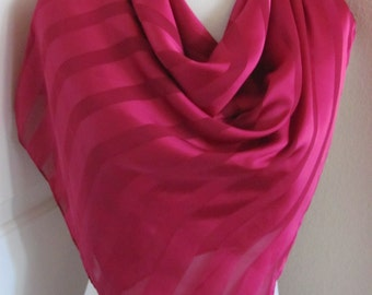 "Lovely Solid Magenta Soft Silky Poly Scarf - 32"" inch 81cm Square"