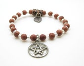 Goldstone Bracelet, Pagan, Wiccan, Pentacle, Pentagram, Metaphysical, Spiritual