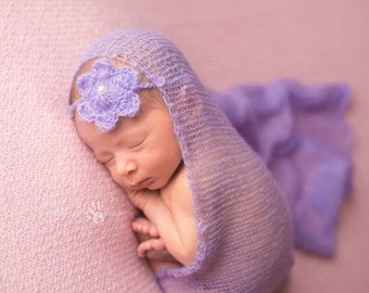 Lavender Mohair Wrap and Headband, Baby Wrap, Newborn Photo Prop, Baby Girl Prop, Photography Prop, FREE SHIPPING
