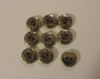 Silvertone 2 Hole Buttons With Embossed Star Center